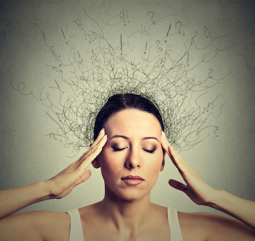 Woman with cluttered brain
